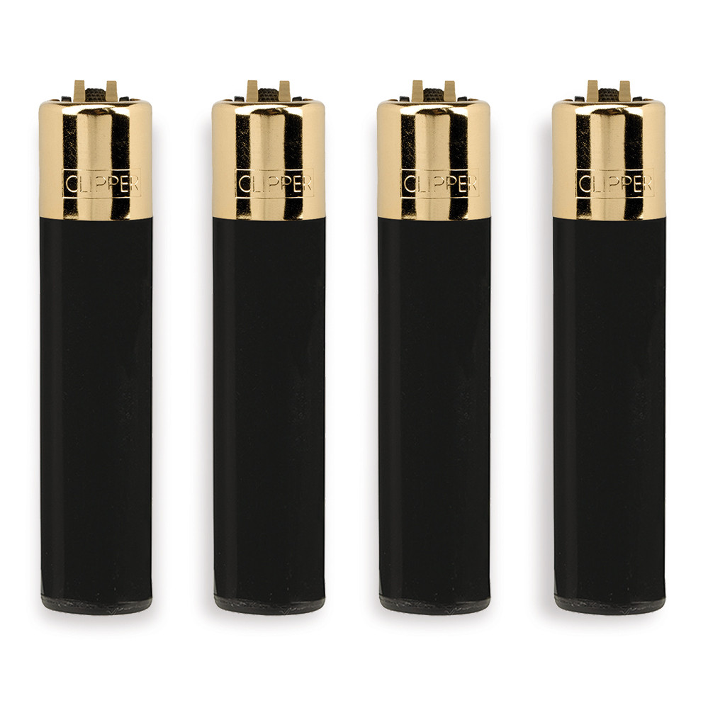 Accendino Clipper Large Black con Gold Cap x 48pz