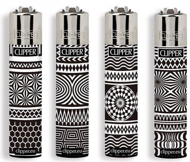 Accendino Clipper Large Black & White x 48pz