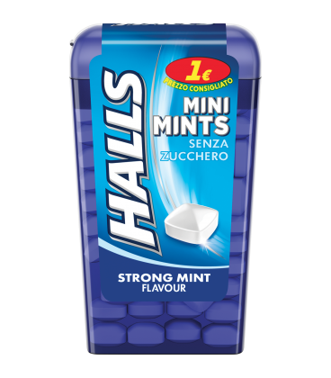Caramelle Halls Mini Mints Strong Mint Flavour Sugar Free x 12pz